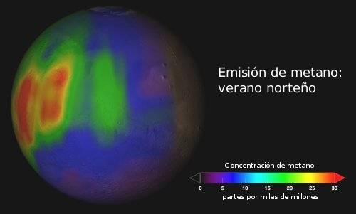 emision metano atmosfera marte